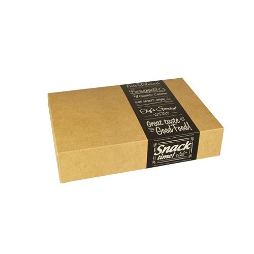 "10 x 10 Transport- und Catering-Kartons ""pure"" eckig 8 cm x 24,7 cm x 35,7 cm ""Good Food"" klein"