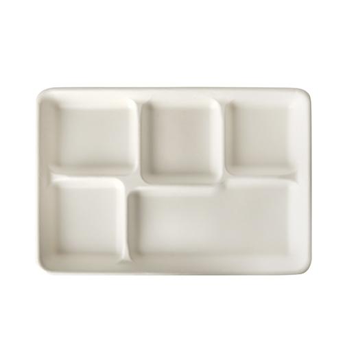 """5 x 25 Menü-Trays, Zuckerrohr """"pure"""" 5-geteilt 2,4 cm x 21,6 cm x 31,7 cm weiss"""