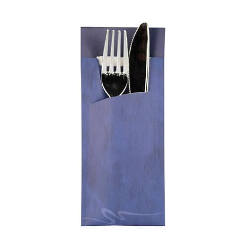 Bestecktaschen 20 cm x 8,5 cm blau inkl. weißer Serviette 33 x 33 cm 2-lag.