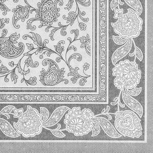 """5 x 50 Servietten """"ROYAL Collection"""" 1/4-Falz 40 cm x 40 cm grau """"Ornaments"""""""