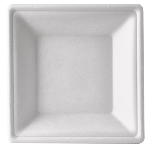 """8 x 50 Teller tief, Zuckerrohr """"pure"""" eckig 4,5 cm x 26 cm x 26 cm weiss"""
