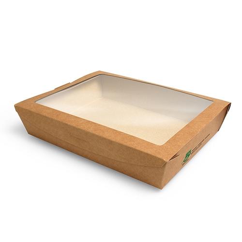 """4 x 40 Feinkostboxen, Pappe mit Sichtfenster aus PLA """"pure"""" eckig 1000 ml 4,5 cm x 18 cm x 13 cm bra"""