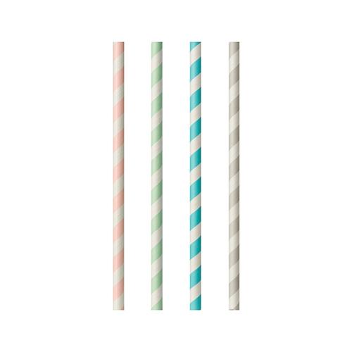 "10 x 100 Trinkhalme, Papier ""pure"" Ø 6 mm · 20 cm farbig sortiert ""Stripes"""