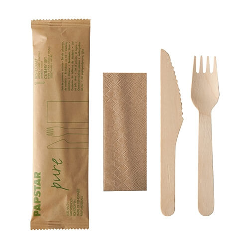 "50 x Besteckset, Holz ""pure"" natur : Messer, Gabel, Serviette in Papierbeutel"