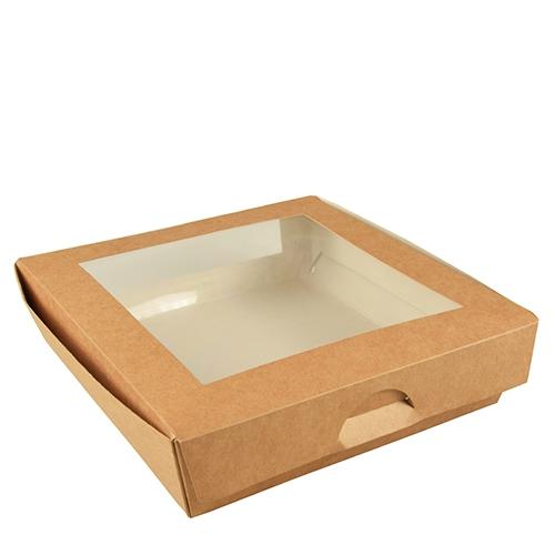 """4 * 25 Feinkostboxen, Pappe mit Sichtfenster aus PLA """"pure"""" eckig 1500 ml 19 cm x 19 cm x 5 cm braun"""