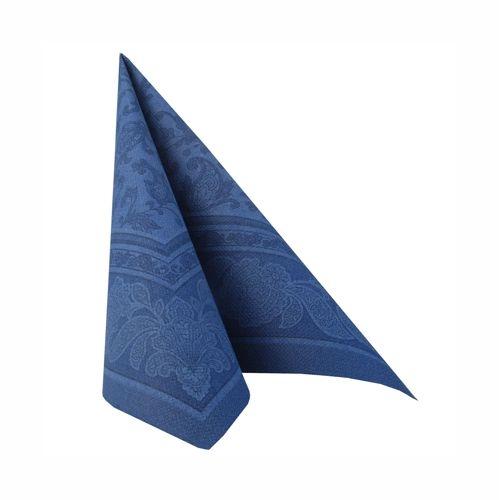 """5 x 50 Servietten """"ROYAL Collection"""" 1/4-Falz 40 cm x 40 cm dunkelblau """"Ornaments"""""""