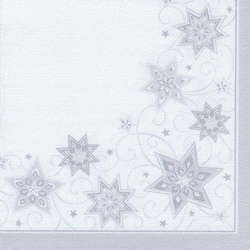 """8 x 20 Servietten """"ROYAL Collection"""" 1/4-Falz 40 cm x 40 cm weiss """"Just Stars"""""""