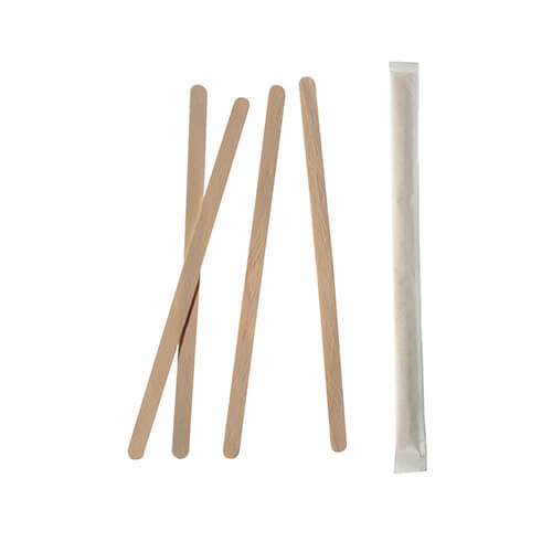 """10 * 1000 Rührstäbchen, Holz """"pure"""" 14 cm x 6 mm einzeln gehüllt"""