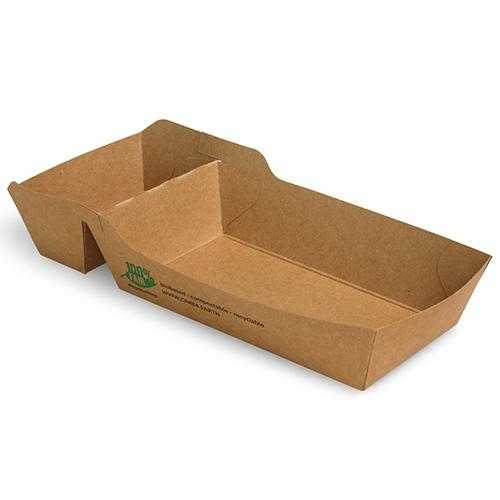 """12 x 80 Pommes-Frites-Trays, Pappe """"pure"""" 2-geteilt 3,5 cm x 7 cm x 12 cm braun """"100% Fair"""" mittel"""