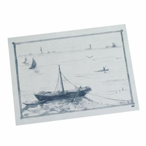 """Tischsets, Papier 30 cm x 40 cm weiss """"Ruderboot"""""""