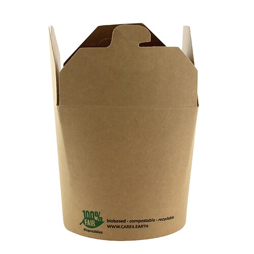 "20 x 25 Snackboxen, Pappe ""pure"" eckig 760 ml 9,8 cm x 10 cm x 8,8 cm braun ""100% Fair"""