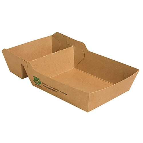 "7 x 80 Pommes-Frites-Trays, Pappe ""pure"" 2-geteilt 3,8 cm x 8,5 cm x 15,5 cm braun ""100% Fair"" extra"