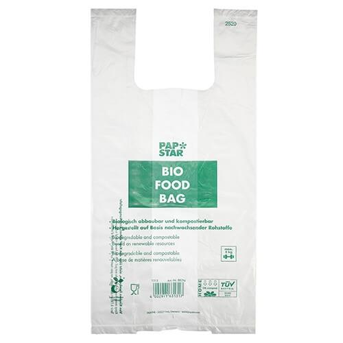 Hemdchen-Tragetaschen, Bio-Folie 55 cm x 28 cm x 20 cm transparent Knotenbeutel auf Rolle