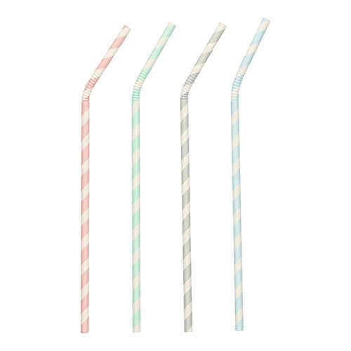"Trinkhalme, flexibel, Papier Ø 6 mm · 20 cm farbig sortiert ""Stripes"" einzeln gehüllt"