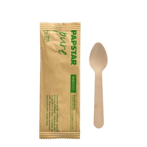 """Kaffeelöffel, Holz """"pure"""" 11 cm einzeln verpackt in Papierbeutel"""