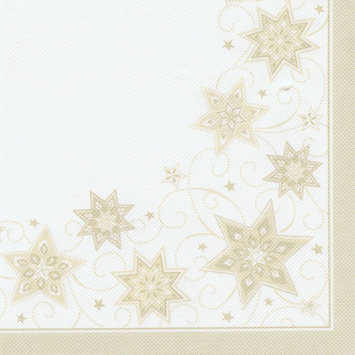 "8 x 20 Servietten ""ROYAL Collection"" 1/4-Falz 40 cm x 40 cm champagner ""Just Stars"""