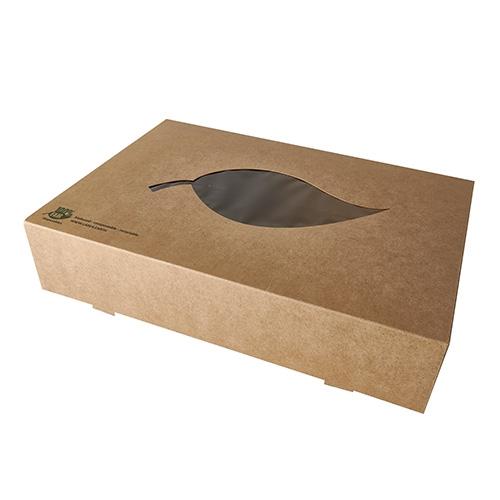 "5 x 10 Transport- und Catering-Kartons, Pappe ""pure"" 8 cm x 46,4 cm x 31,3 cm braun ""100% Fair"" mit"