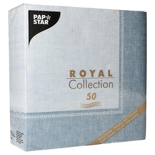 """5 x 50 Servietten """"ROYAL Collection"""" 1/4-Falz 40 cm x 40 cm arktikblau """"Linum"""""""