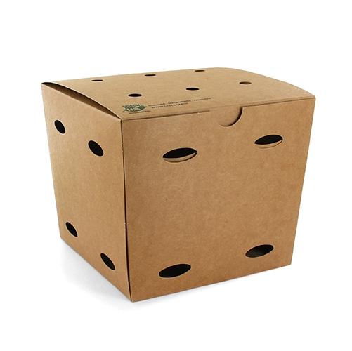 """5 x 50 Pommes-Frites-Boxen, Pappe """"pure"""" 14 cm x 14,5 cm x 14,5 cm braun """"100% Fair"""" groß"""
