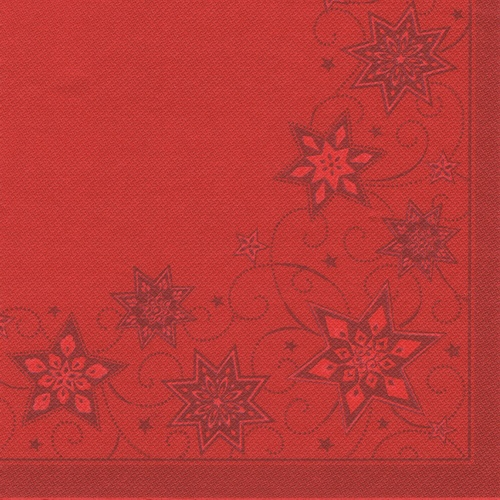 "8 x 20 Servietten ""ROYAL Collection"" 1/4-Falz 40 cm x 40 cm rot ""Just Stars"""