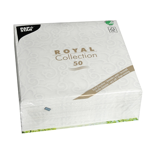 """5 x 50 Servietten """"ROYAL Collection"""" 1/4-Falz 40 cm x 40 cm weiss """"Casali"""""""