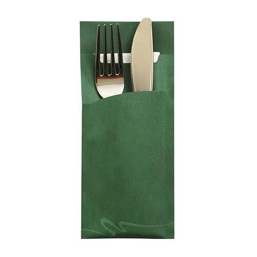 Bestecktaschen 20 cm x 8,5 cm dunkelgrün inkl. weißer Serviette 33 x 33 cm 2-lag.