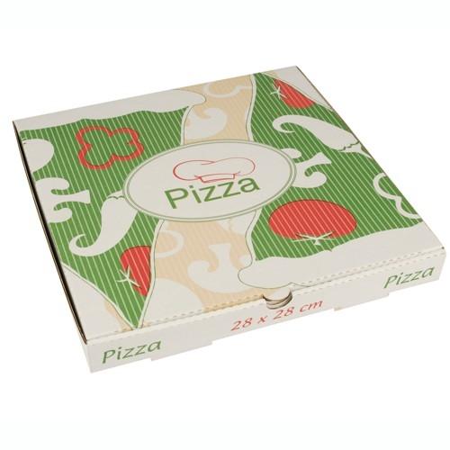 """1 x 100 Pizzakartons, Cellulose """"pure"""" eckig 28 cm x 28 cm x 3 cm"""