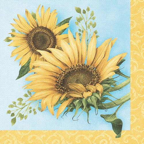"""5 x 50 Servietten """"ROYAL Collection"""" 1/4-Falz 40 cm x 40 cm """"Sunflower"""""""