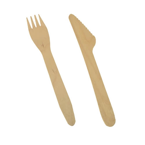 "1 * 500 Bestecke, Holz ""pure"" 16,5 cm (Messer, Gabel)"