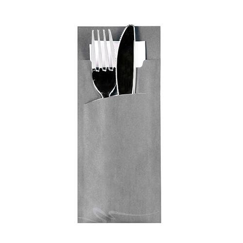 Bestecktaschen 20 cm x 8,5 cm grau inkl. weißer Serviette 33 x 33 cm 2-lag.