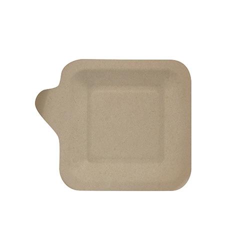 """10 x 50 Fingerfood - Teller, Zuckerrohr """"pure"""" eckig 11,3 cm x 11,3 cm natur mit Anfasser"""