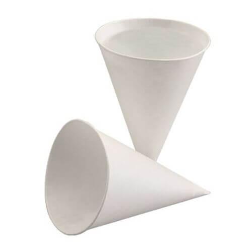 Spitzbecher, Zuckerrohrpapier 120 ml Ø 7,5 cm · 10,5 cm weiss