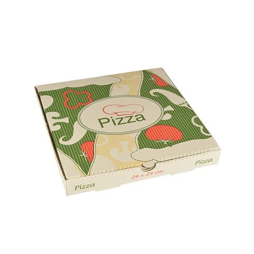 """1 x 100 Pizzakartons, Cellulose """"pure"""" eckig 24 cm x 24 cm x 3 cm"""