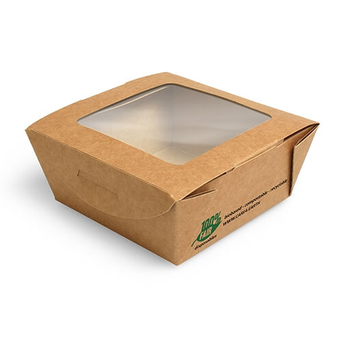 """12 x 40 Feinkostboxen, Pappe mit Sichtfenster aus PLA """"pure"""" eckig 350 ml 4,5 cm x 9 cm x 9 cm braun"""