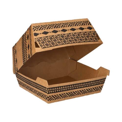 "Burgerboxen, Pappe 5,9 cm x 14,8 cm x 13,2 cm braun ""Maori"" groß"