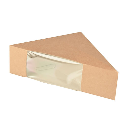 """10 * 50 Sandwichboxen, Pappe mit Sichtfenster aus PLA """"pure"""" 12,3 cm x 12,3 cm x 5,2 cm braun"""