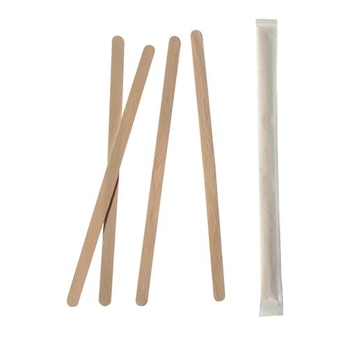 """10 x 1000 Rührstäbchen, Holz """"pure"""" 17,8 cm x 6 mm einzeln gehüllt"""