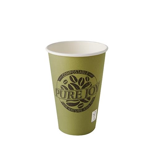 """20 x 50 Trinkbecher, Pappe """"pure"""" 0,3 l Ø 8 cm · 11,7 cm grün """"Pure Joy"""""""