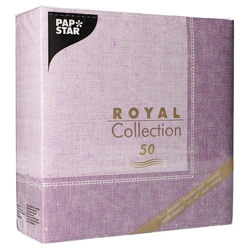 """5 x 50 Servietten """"ROYAL Collection"""" 1/4-Falz 40 cm x 40 cm flieder """"Linum"""""""