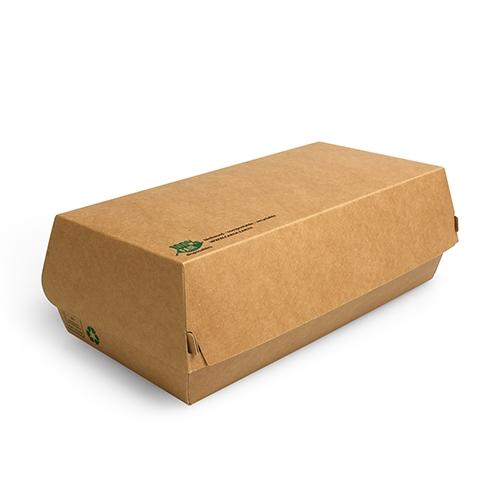 """Baguetteboxen, Pappe """"pure"""" 7,5 cm x 10,7 cm x 22 cm braun """"100% Fair"""" groß"""