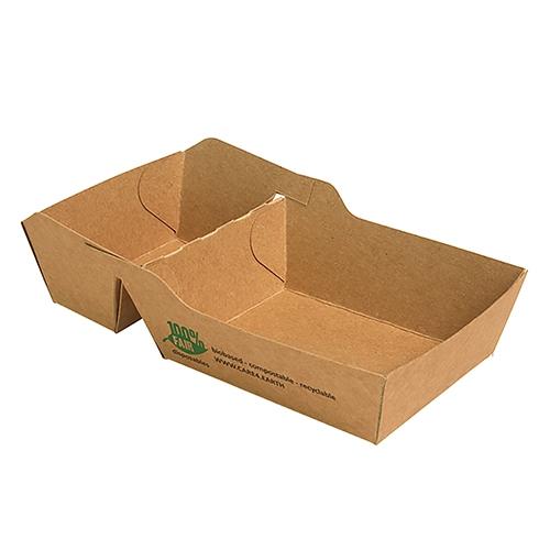 """6 x 80 Pommes-Frites-Trays, Pappe """"pure"""" 2-geteilt 3,5 cm x 7 cm x 9 cm braun """"100% Fair"""" klein"""