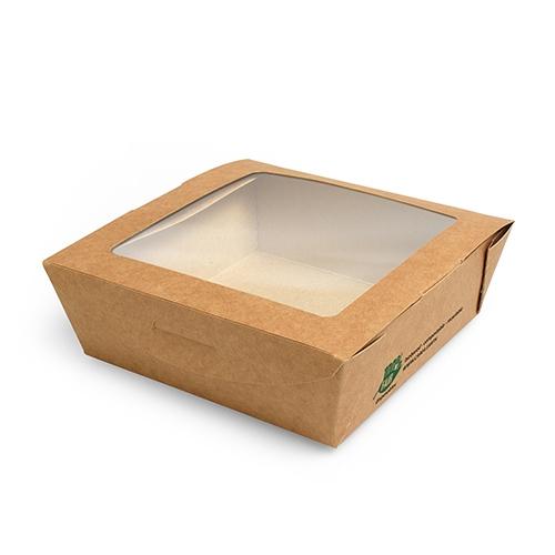 """3 * 40 Feinkostboxen, Pappe mit Sichtfenster aus PLA """"pure"""" eckig 650 ml 4,5 cm x 12 cm x 12 cm brau"""