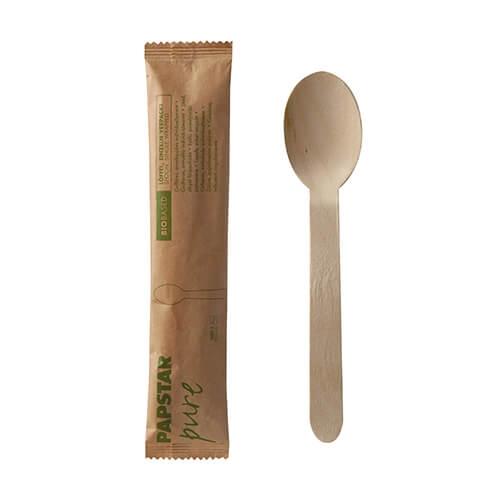"""Löffel, Holz """"pure"""" 16 cm einzeln verpackt in Papierbeutel"""