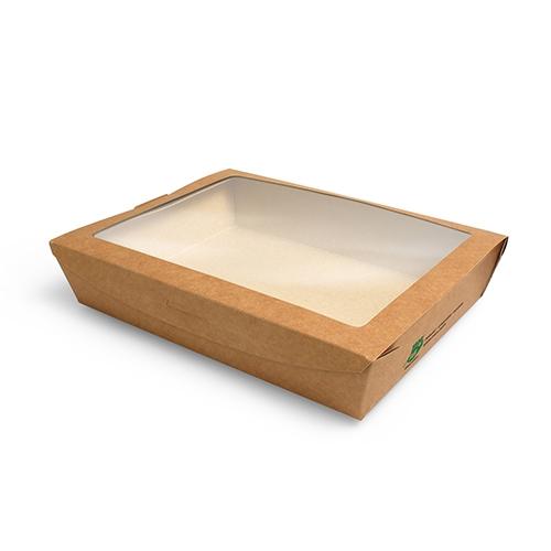 """3 x 40 Feinkostboxen, Pappe mit Sichtfenster aus PLA """"pure"""" eckig 1500 ml 4,5 cm x 21 cm x 16 cm bra"""