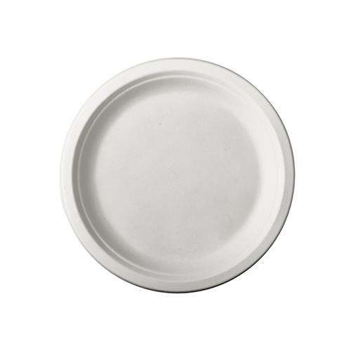 """10 x 50 Teller, Zuckerrohr """"pure"""" ungeteilt Ø 15 cm · 2 cm weiss"""