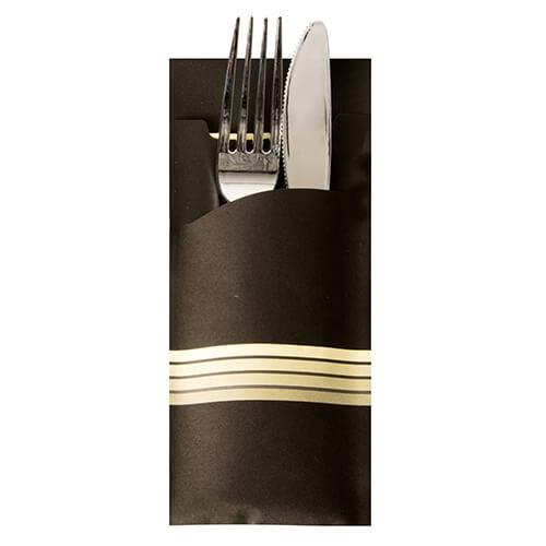 """Bestecktaschen 20 cm x 8,5 cm schwarz/creme """"Stripes"""" inkl. farbiger Serviette 33 x 33 cm 2-"""