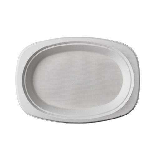 """10 * 50 Teller, Zuckerrohr """"pure"""" oval 23 cm x 16 cm x 2 cm weiss"""