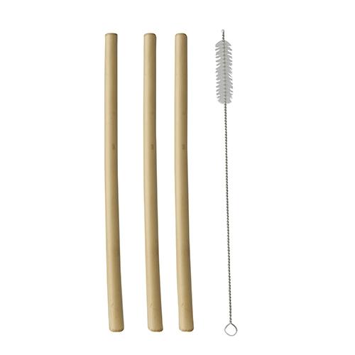 """10 x 12 Trinkhalme, Bambus """"pure"""" Ø 1 cm · 23 cm inkl. Reinigungsbürste"""