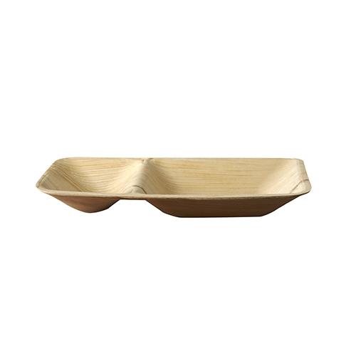 "5 x 25 Trays, Palmblatt ""pure"" 2-geteilt 4,5 cm x 16 cm x 23,5 cm"