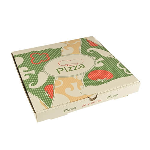 """1 x 100 Pizzakartons, Cellulose """"pure"""" eckig 26 cm x 26 cm x 3 cm"""